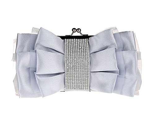 Elegant Vintage Pleated Wedding Dunland Clutch Silver Womens Envelope Bow Party Diamond Evening Prom Bag XqxwYE5YT