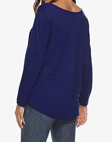 Shirt Automne Chemisiers Mode Printemps Blouses Manches Casual Haut Fonc Longues Tops T et Elgante Femmes Plier Tee Bleu zPqZ5