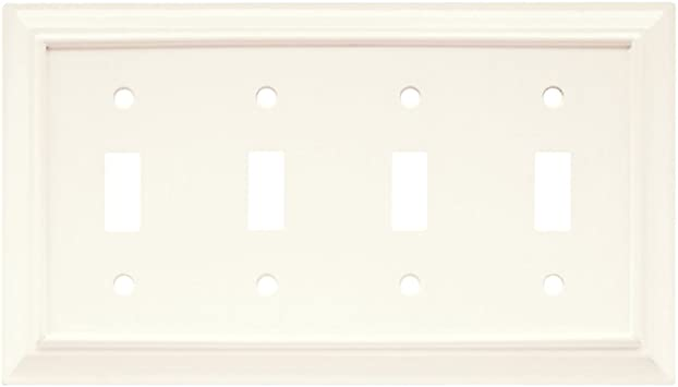 Brainerd 64536 Wood Architectural Quad Toggle Switch Wall Plate Cover Switch Plate