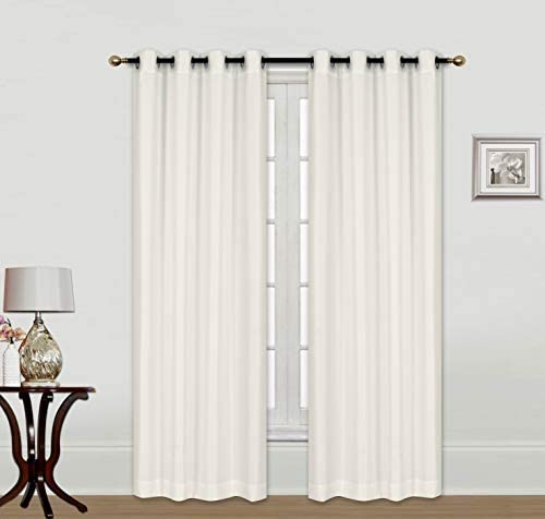 ECM. Indoor Outdoor Solid Cabana Grommet Top Curtain Panel Wide Window Curtain Pair with Grommet Top 2pc 84 95 108 120 inch Window Treatment 54X96 X2, Beige