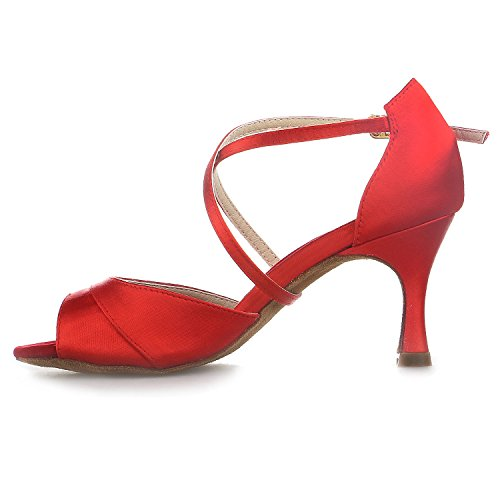 Super 2 Mujer 20522 Imitación Latina Acampanados '' 7 de Jia Zapatos Jia de Daile de Sandalias Rojo con de Satinado Tacón Diamantes wYBxPq