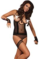 StrawberryGum Agostina Luxury Open Cup Basque, Thong, Garter and Matching Gloves Set