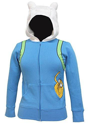 Adventure Time Finn The Human Juniors Light Blue Costume Hoodie Sweatshirt (Juniors X-Small) (Finn Jake Costume)