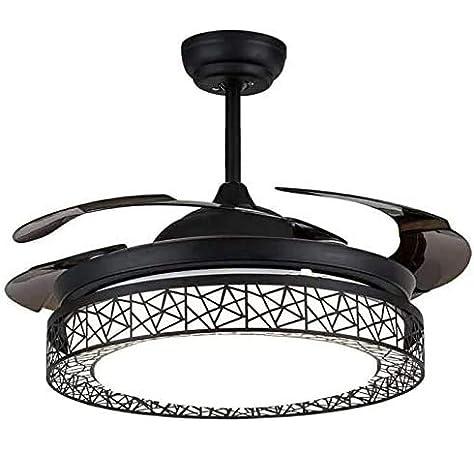 LDDYJH Ventilador de Techo con iluminación y Control Remoto, Ventilador de Techo Negro, 3 Colores de Ventilador Interior, lámpara Plegable, Ultra silencioso Ventilador LED lámpara de Techo,Black: Amazon.es: Hogar