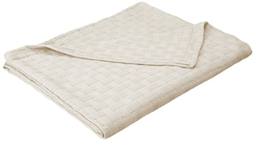 Superior 100% Cotton Thermal Blanket, Soft and Breathable Cotton for All Seasons, Bed Blanket and Oversized Throw Blanket with Luxurious Basket Weave Pattern - Full/Queen Size, Ivory