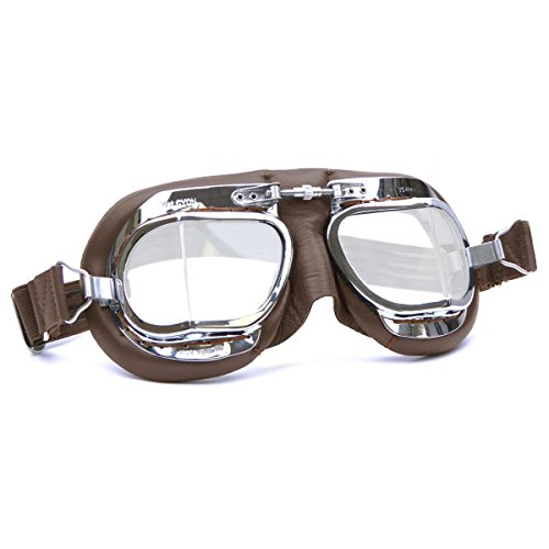 (HDM Products Mk49 Leather Motorcycle Goggle For Open Face Helmets Brown)