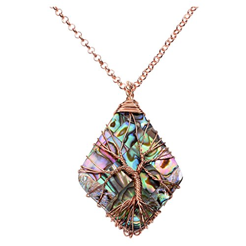 Top Plaza Vintage Copper Wire Wrapped Tree of Life Natural Gemstone Rhombus Pendant Necklace Reiki Healing Crystal Chakra Jewelry for Women - Abalone Shell