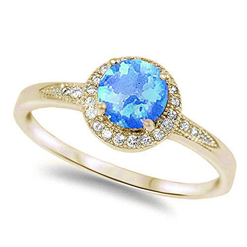 Oxford Diamond Co Lab Created Blue Opal & Cubic Zirconia .925 Sterling Silver Ring Sizes 6