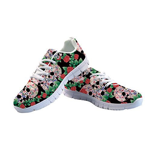 FOR U DESIGNS Suger Skull Run Shoes for Woman Walking Comfort Sports Athletic Sneaker US -