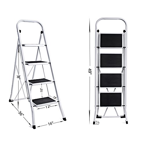 Portable Steel Steps : Delxo folding step ladder with plastic cushion