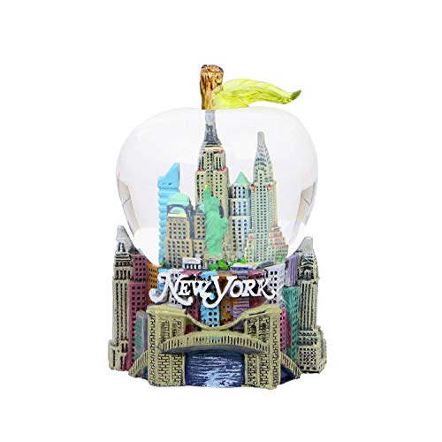 New York City Snow Globe Apple Leaf 2.5 Inch NYC Snow Globe
