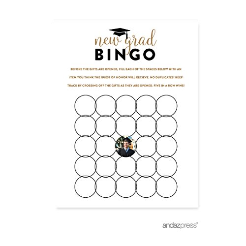 Andaz Press Personalized Graduation Photo Party Collection, New Grad Bingo Game Cards, 20-Pack ()