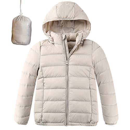 CUNYI Boys Girls Hooded Portable Lightweight Down Jacket Coats, Light Khaki, 3-4 T/ 105
