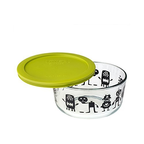 Pyrex Clear Food Storage Container with Lid [32oz] (Monsters)