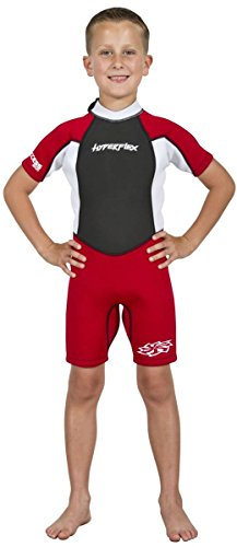 Hyperflex Access Child's Backzip Shorty Wetsuit - Warm, Comfortable Kid's Springsuit with 4-Way Stretch Neoprene and SPF Protection - Adjustable Collar and Flat Lock Construction,(Red, 6)
