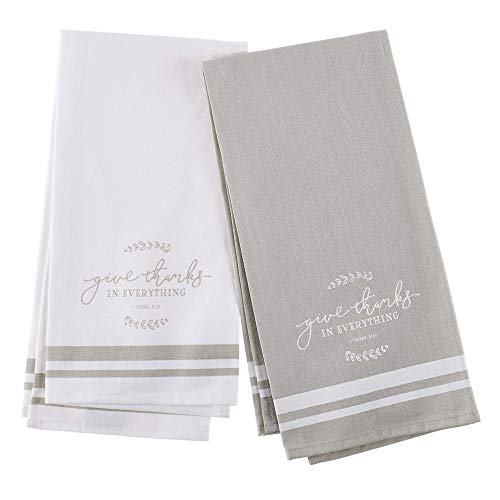 Christian Kitchen Towel - Give Thanks in Everything- Set of Two Taupe and Ivory Tea Towels - 1 Thessalonians 5:18 (In Everything Give Thanks To The Lord)