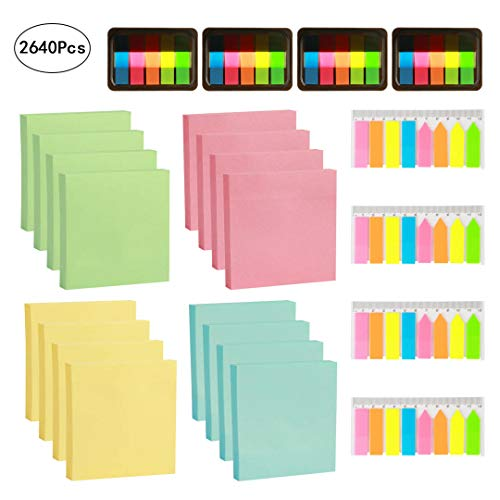LANMOK 2640 pc Sticky Notes and pop up index tabs