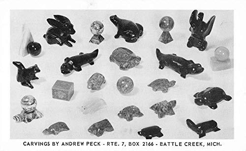Battle Creek Michigan Animal Stone Carvings Antique Postcard KA688425