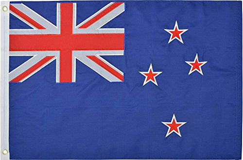 Green Grove Products New Zealand Flag 2' x 3' Ft 210D Nylon Premium Outdoor Embroidered Kiwi Flag