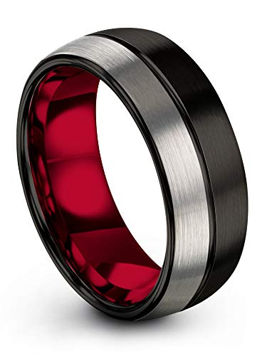 Chroma Color Collection Tungsten Carbide Wedding Band Ring 8mm for Men Women Red Interior with Black Center Line Dome Black Grey Half Brushed Polished Comfort Fit Anniversary Size 8.5