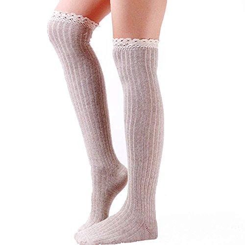 DEESEE® Leg Cuffs Boot Socks Womens Leg Warmers Lace Patchwork Leggings Socks (Beige)