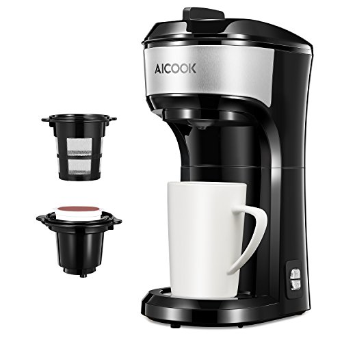 AICOOK Single Serve Coffee Maker, Coffee Machine for K-cup pods, Coffee Ground and Coffee Capsules Dual Coffee Brewer, 2 in 1 Coffee Pot