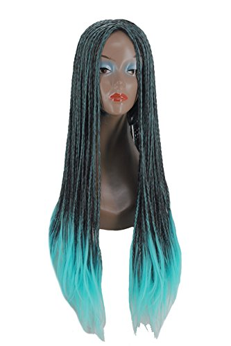 Angelaicos Braids Mixed Blue Black Halloween Ombre Wig for Adult Kids (Kids)