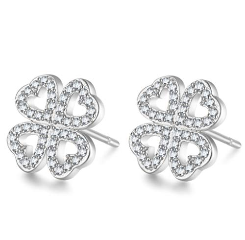 KeXuan Stud Earrings for Women or Girls, Four Leaf Clover Design, with AAA Zircon and .925 Sterling Silver Stud, Silver ()