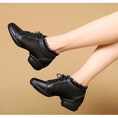 Libre Modernos Black Baile para Ligeros De Tamaños Dancewear Running Zapatillas Correr Al Cordones De Zapatos Los De Todos Malla con Aptitud Aire Cuero Mujeres para w7SExpq5U