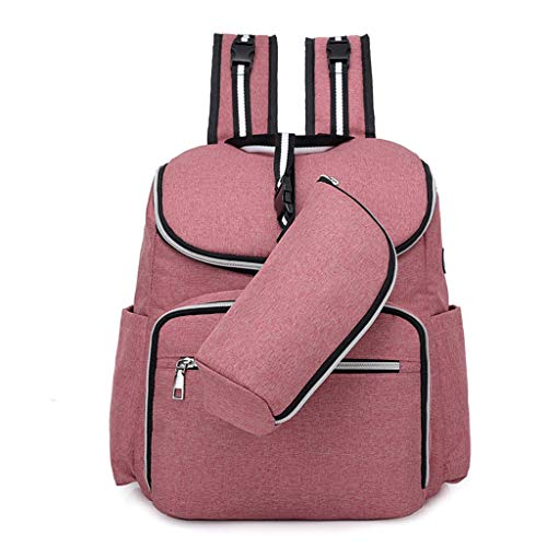 Waterproof Diaper Bag Backpack Bag,Large Capacity and Durable Backpack with Stroller Straps,Multi-Function Travel Bags,Durable Suitable for Mommy to Go Out (Color : Pink)
