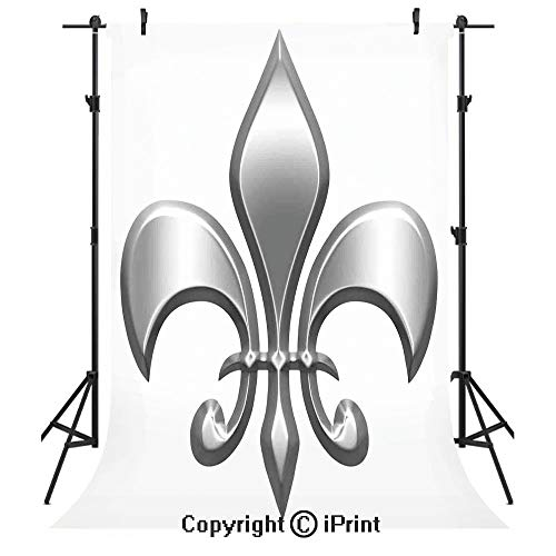 Fleur De Lis Decor Photography Backdrops,Lily Flower Symbol Nobility of Knights in Medieval Time European Iris Icon Design,Birthday Party Seamless Photo Studio Booth Background Banner 5x7ft,White -