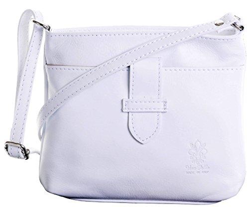 Primo Sacchi ® en cuir italien souple à la main, petite bandoulière à l'avant et bandoulière réglable   Comprend un sac de rangement de marque protectrice.   blanc