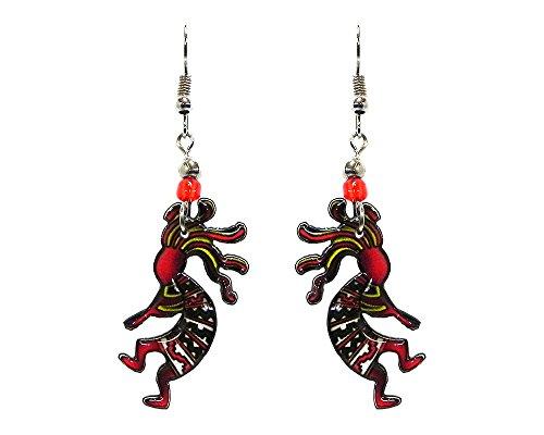 Kokopelli Southwest Dangle Earrings (Red/Green/White)
