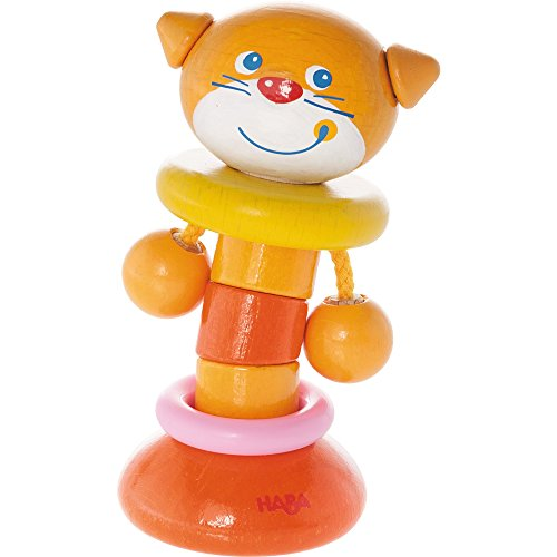(HABA Clutching Toy Clatter Cat Wooden Rattle & Teether (Made in Germany))