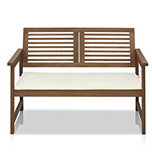 Furinno Tioman Hardwood Outdoor Bench in Teak Oil with White Cushion