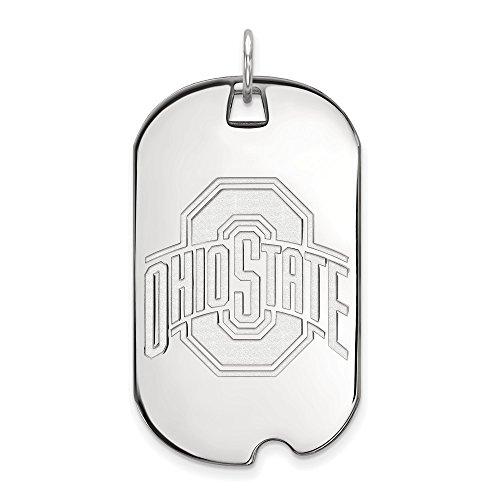 Roy Rose Jewelry 10K White Gold LogoArt Ohio State University Large Dog Tag - Ohio State University Seal Pendant