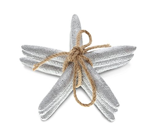 CoTa Global Silver Starfish Ornaments in Twine, 5 inch, Tabletop Figurines Resin Art Handcrafted Decoration Figure Nautical Coastal Beachy Ocean Sea Life Crafts Home Accent Decor (3pc - Metallic Resin Painted Figure