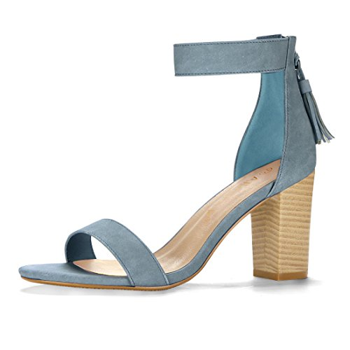Allegra K Women's Tassel Block Heel Ankle Strap Sandals (Size US 11.5) Denim Blue (Abs Womens Sandals)