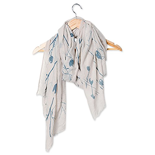 (Tickled Pink Long Lightweight All Season Floral Sheer Scarf, 30 x 70