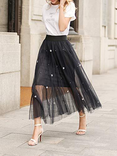 Jupe Couche Chic lgante Casual Marine Maxi A Line Dentelle Femme Jupes Double Haute Classique Taille Ewqppt