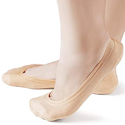 6 Pairs Women's No Show Socks Non Slip Cotton Invisible Hidden Thin Liner Socks for Flats Heels at Women's Clothing store