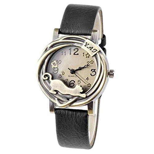 - Women's Fashion Vintage Bronze Case Cat & Flower Quartz Analog Wrist Watch (Black)