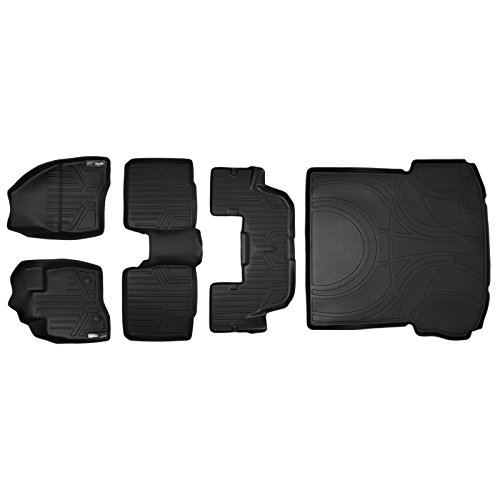 MAXLINER A0161/B0082/C0082/D0082 MAXFLOORMAT Floor Mats (3 Rows) and MAXTRAY Cargo Liner Behind 2nd Row Set Black for 2015-2016 Ford Explorer Without 2nd Row Center Console (Cargo Console Row)