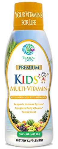 Premium Kids Liquid Multivitamin & Superfood -100% DV of 14 Vitamins for Kids. Multi-Vitamin for Children Ages 4+. Great Tasting, Non-GMO, No Sugar - Max Absorption - 16 oz, 32 Serv by Tropical Oasis