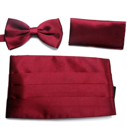 Tie Men's Blend Cummerbund HDE Pocket Square Red Tuxedo Dark Bow Set Satin and Formal qfX0E1xX