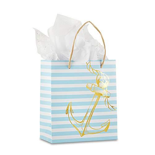 Kate Aspen 28433NA Nautical Anchor Striped Welcome (Set of 6) Gift Bag 0 gold, light blue, white