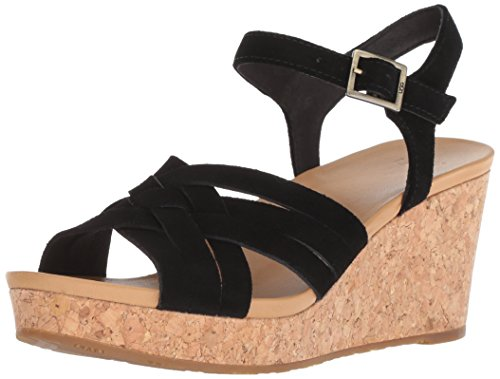 UGG Women's Uma Wedge Sandal, Black, 6.5 M US