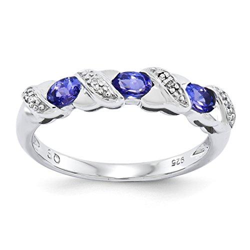 Sterling Silver Tanzanite & Diamond Ring - Size 6
