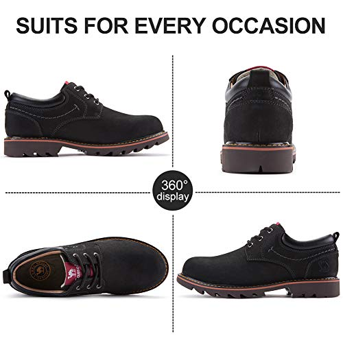CAMEL Shoes Men's Casual for Work Oxford Slip Leather Fashion Shoes Walking Black CROWN Works Non Boots Work qTxqBn
