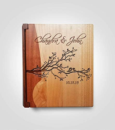 Custom Engraved Family Wedding Album Style 10B Maple /& Walnut Cover LoveToCreateStamps Personalized Wood Cover Photo Album
